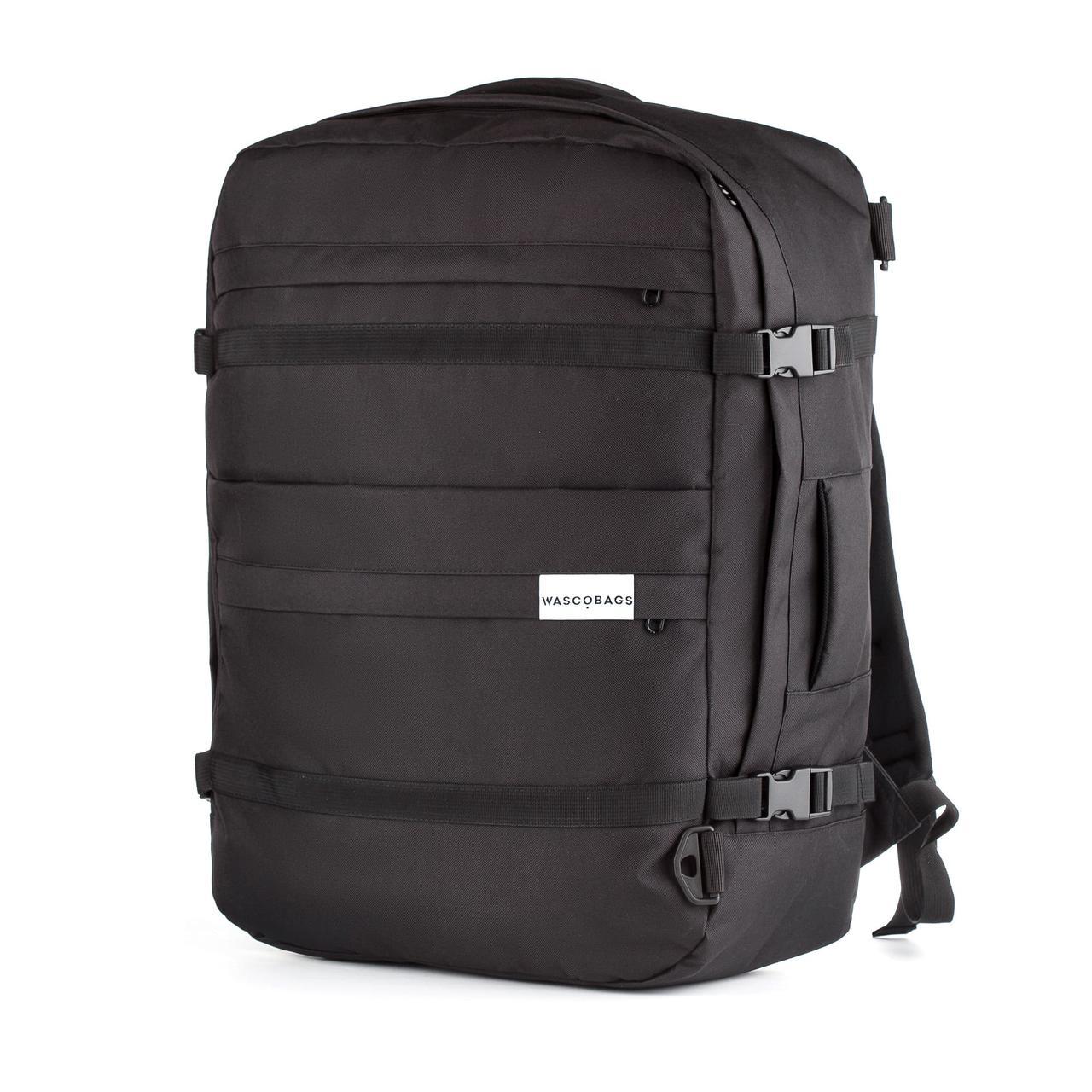 Ручная кладь рюкзак чемодан WASCOBAGS 55x40x20 см. Traveller Black черный