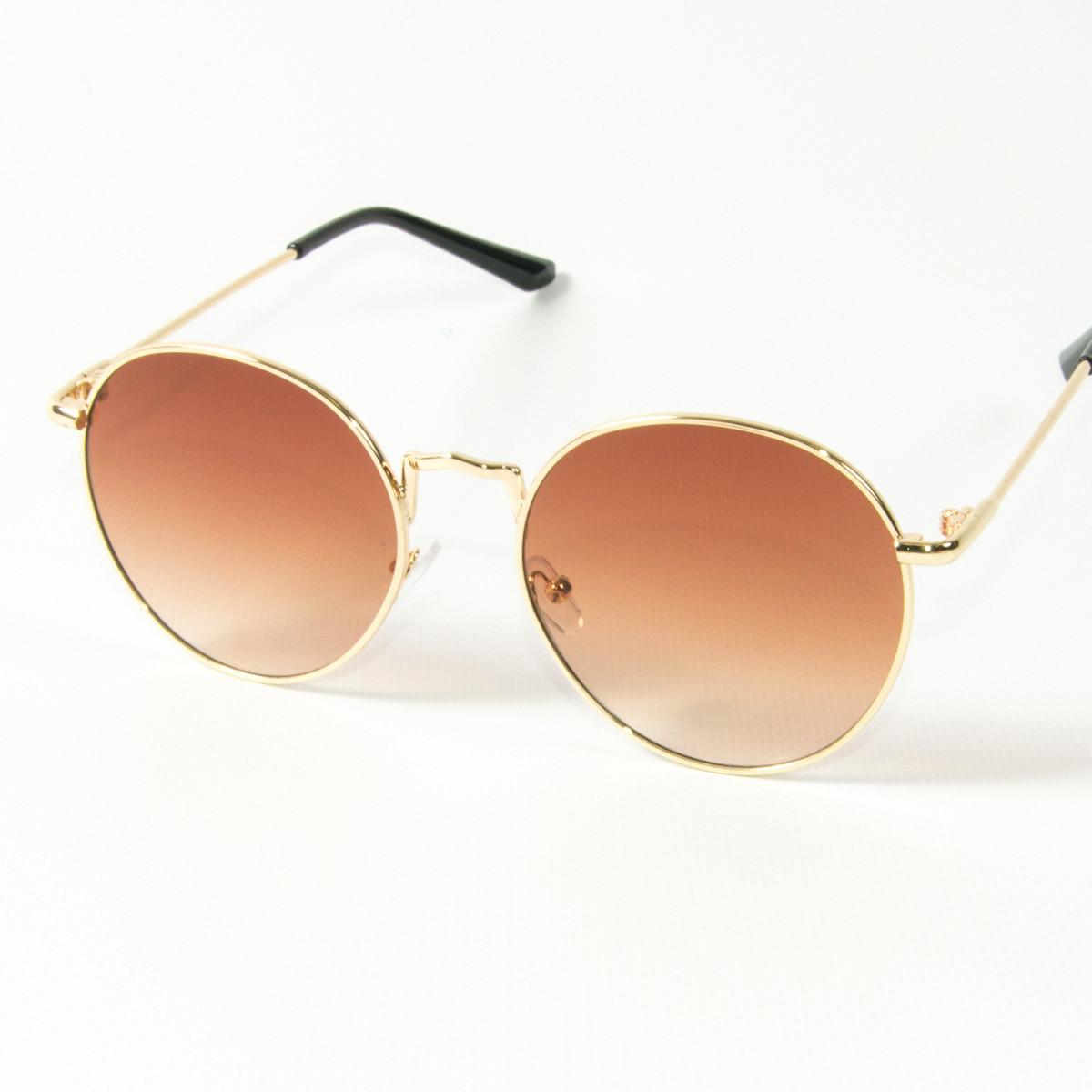 Оптом солнцезащитные очки круглые  (арт. 10-9844/3) коричневые