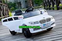 Детский электромобиль BMW с кожаным сиденьем белый .Електромобіль електрокар дитячий M 3271 EBLR-1