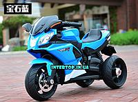 Детский трехколесный электро-мотоцикл на аккумуляторе Bambi с кожаным сиденьем синий цвет. Електромотоцикл