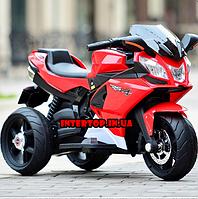 Детский трехколесный электромобиль-мотоцикл на аккумуляторе Bambi 3912 с кожаным сиденьем красный