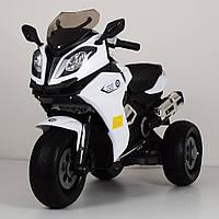 Детский трехколесный электромобиль мотоцикл от 3 до 6 лет BMW 3913 белый. Электро-мотоцикл для детей