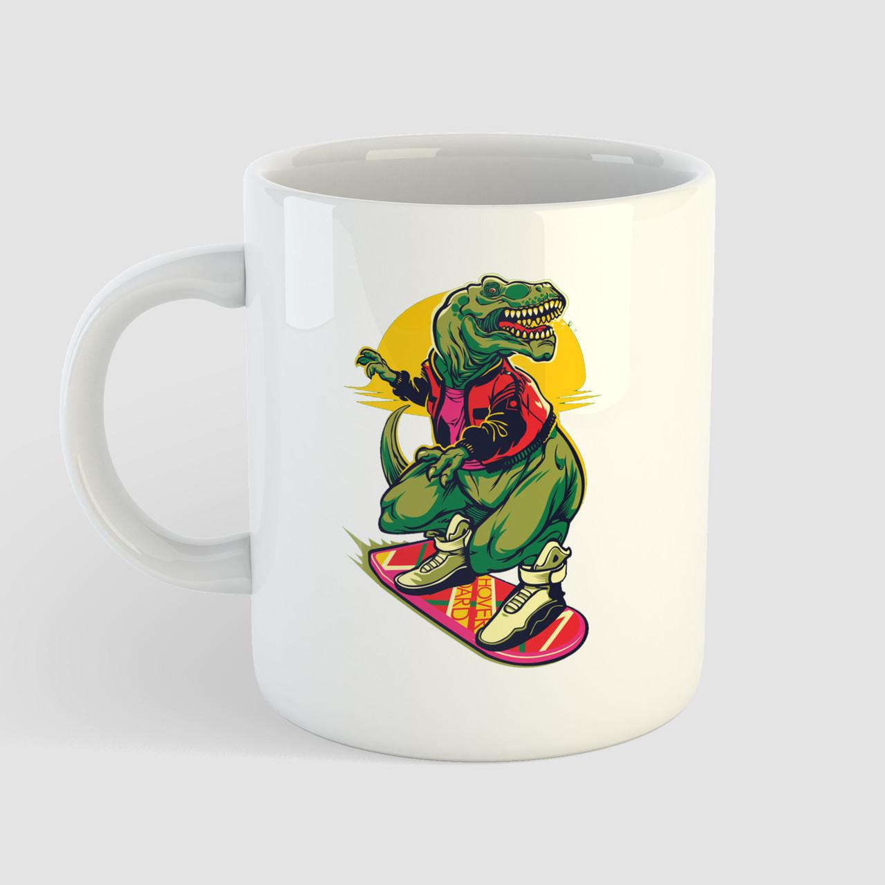 Кружка с принтом Динозавр на скейте. Чашка с фото