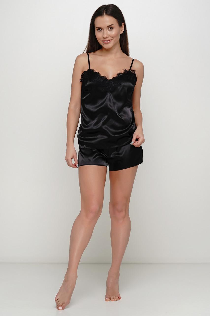 Черный комплект-пижама  майка и шортики