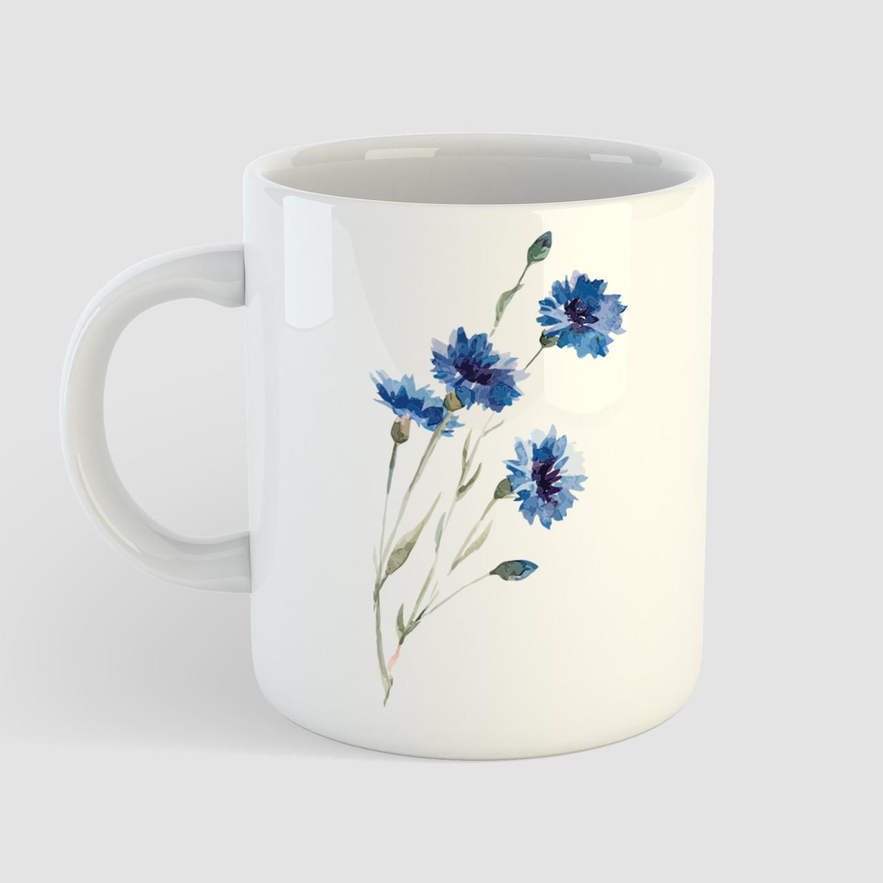 Кружка с принтом Синие Цветы. Растения. Чашка с фото