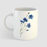Кружка с принтом Синие Цветы. Растения. Чашка с фото, фото 1