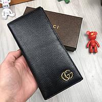 Кожаный мужской кошелек на молнии Gucci черный Качество натуральная кожа Стильный бумажник Гуччи реплика, фото 1