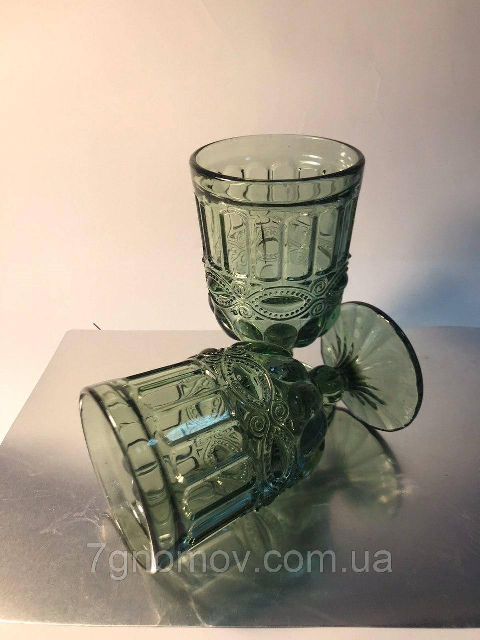Набор 6 бокалов из цветного зеленого стекла Катрин по 300 мл