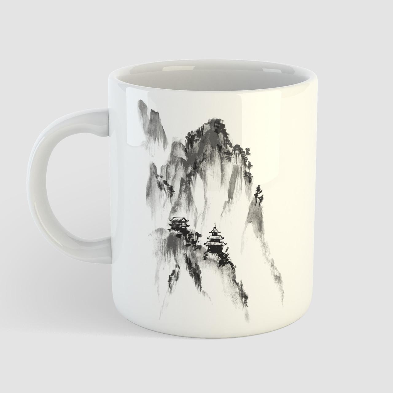 Кружка с принтом Горы. Mountains. Чашка с фото