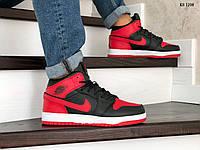 Мужские зимние кроссовки на меху Nike Air Jordan 1 Retro, кожа, полиуретан, черные с красным.