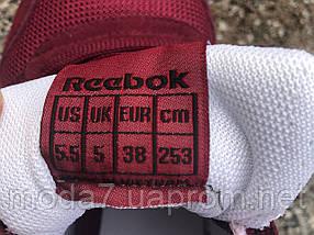 Кроссовки женские бордовые Reebok Classic нат. замша сетка реплика, фото 3