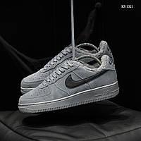 Мужские зимние кроссовки на меху  Nike Air Force 1 07 Mid LV8, замша, полиуретан, серые.