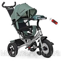 Дитячий велосипед з USB Turbotrike M 3115HA триколісний, колеса надувні, ПУ, світло, льон