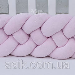 Бортик-косичка в 4 пасма, колір рожевий.