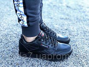 Кроссовки женские черные Reebok Classic нат. кожа реплика, фото 2