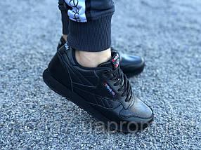 Кроссовки женские черные Reebok Classic нат. кожа реплика, фото 3