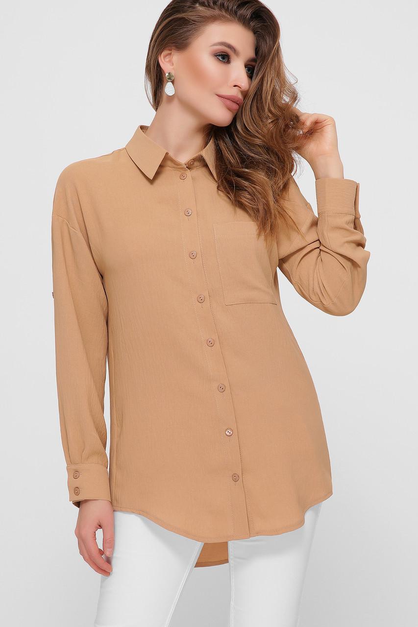 Бежевая рубашка женская удлинённая, жатка