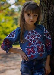 Детская вышиванка Говерла,длинный рукав, р,110,116,122,128,134,140,146,152, красно-белая, дитяча вишиванка