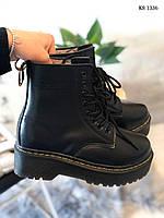 Женские зимние ботинки на меху Dr. Martens Jadon Fur, кожа, полиуретан, черные 39