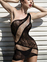 Асиметричное мини платье из сетки, фото 1