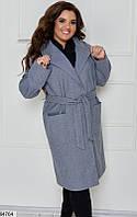 Кашемировое пальто с карманами,большого размера