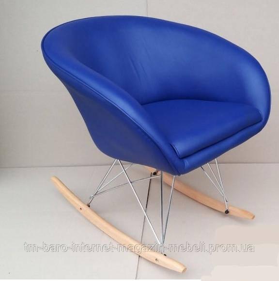 Кресло-качалка Мурат R, синий кожзам