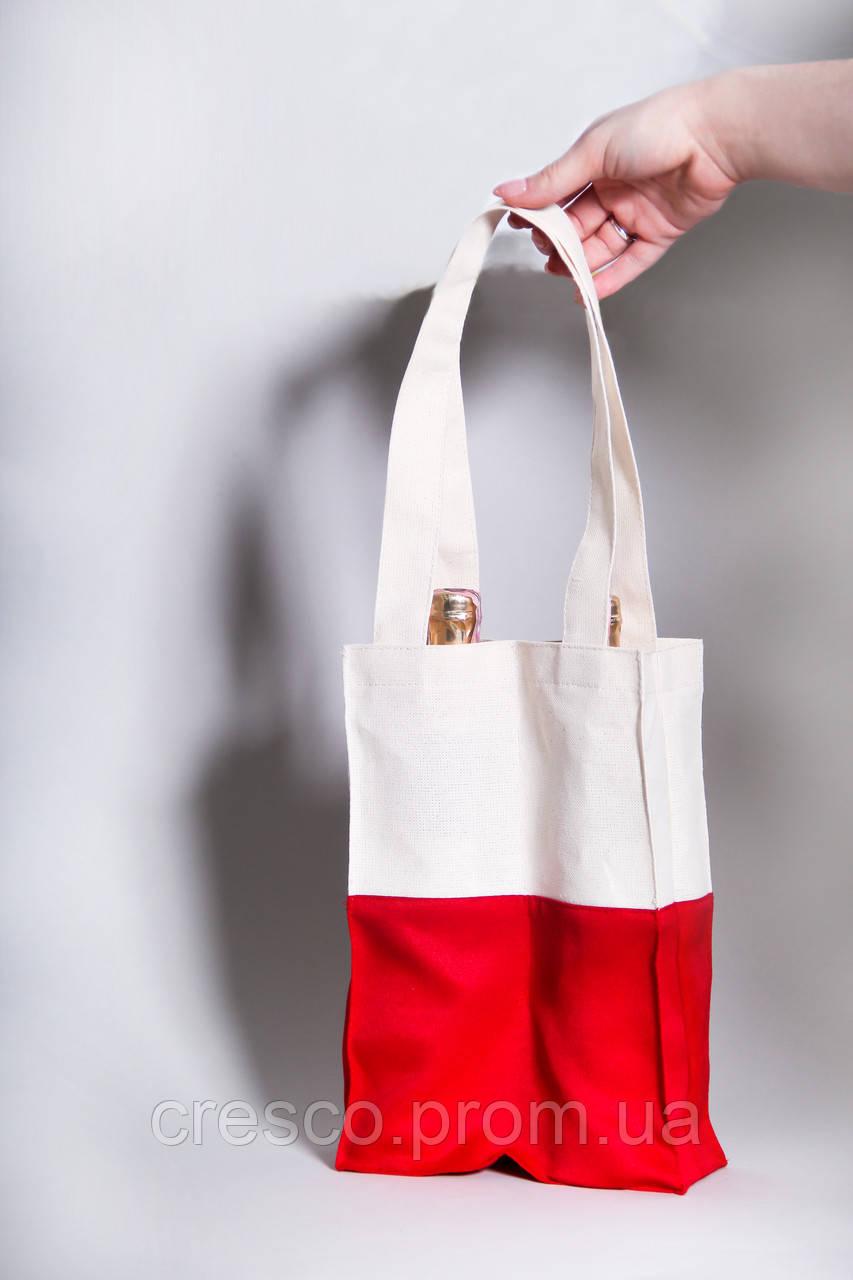 Эко-сумка для вина красная с белым (Red and White), 200*290*75