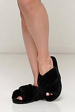 Черные меховые  женские комнатные тапочки, фото 3
