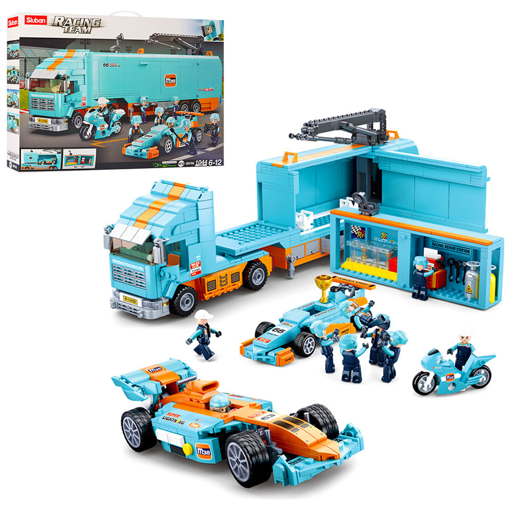 Конструктор SLUBAN, трейлер, машина, мотоцикл, фігурки, 1044 деталі, M38-B0766