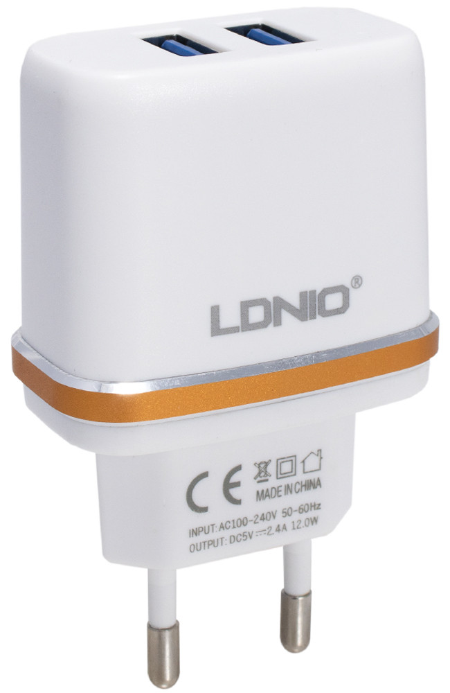 Зарядное устройство LDNIO, DL-2202, USB home charger (2.1 A)+lightning cable, Ц-000040184
