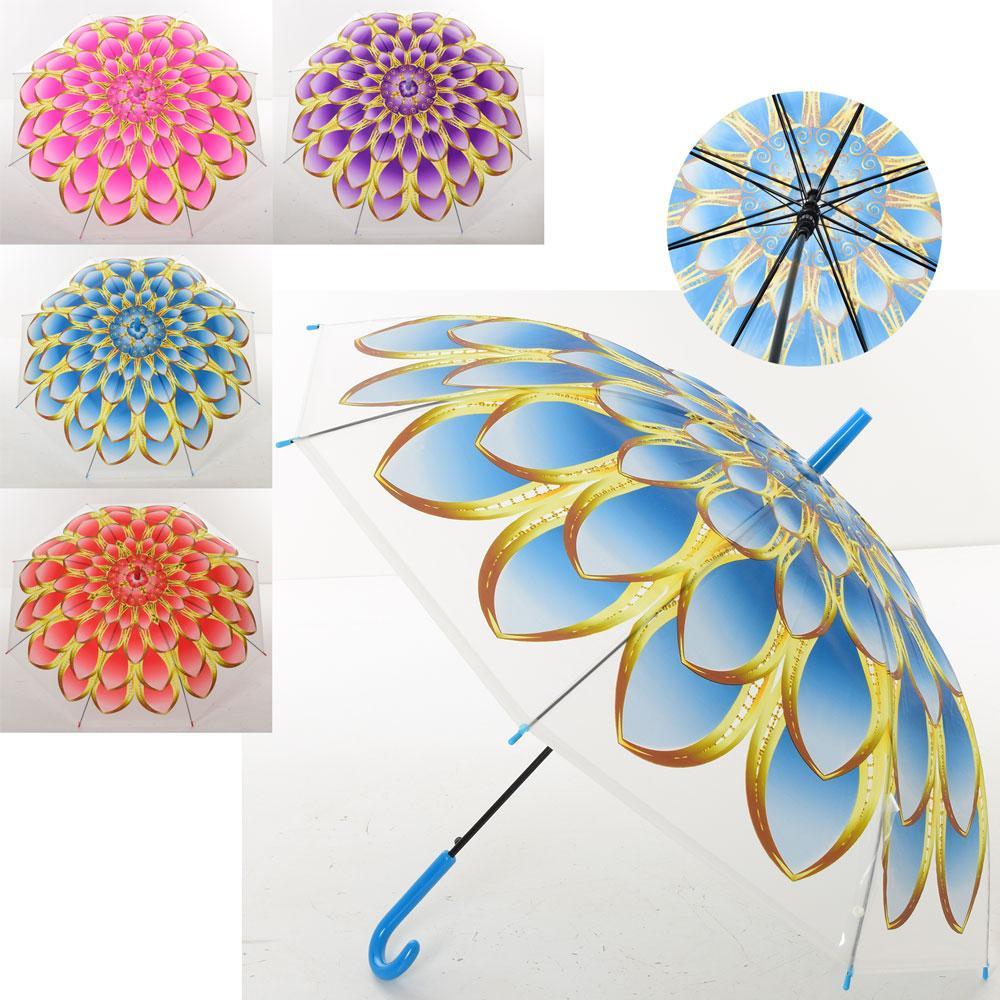 """Зонтик детский """"Цветы"""", трость, клеенка, 4 цвета, MK4112"""