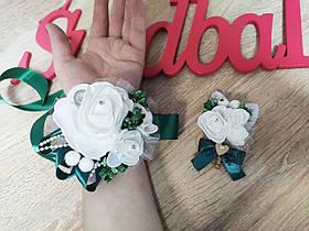 Весільна бутоньєрка і браслет Bouquet Rose. Смарагдовий колір.