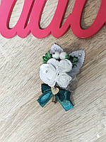 Бутоньерка свадебная Bouquet Rose. Цвет изумрудный.