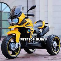 Детский трехколесный электрический мотоцикл на мягких колесах для детей от 3 до 6 лет Bambi M 4117EL-6 желтый