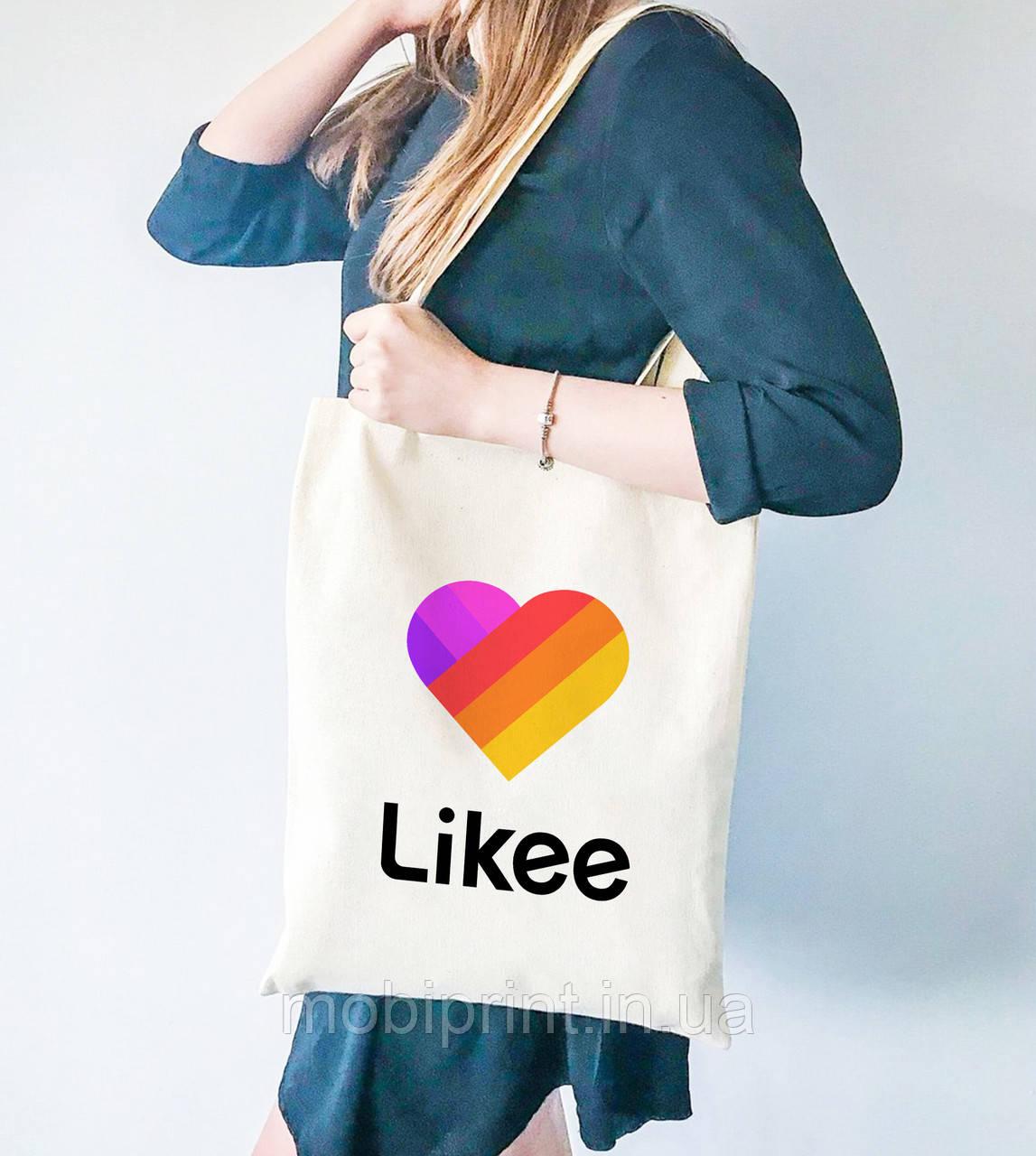 Эко сумка шоппер с принтом Лайк (Likee)  (9227-1041)