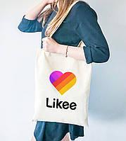Эко сумка шоппер с принтом Лайк (Likee)  (9227-1041) , фото 1