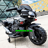 Детский электро мотоцикл на аккумуляторе Bambi  с кожаным сиденьем M 3832ELM-2 черный крашено-матовый