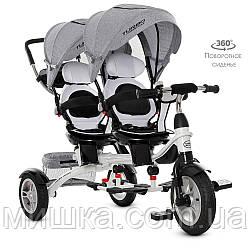 Дитячий триколісний велосипед для двійні M 3116TWA-19 Turbotrike, сірий колір
