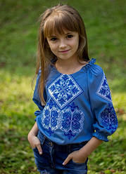 Детская вышиванка Говерла,длинный рукав, р,110,116,122,128,134 сине-белая, дитяча вишиванка