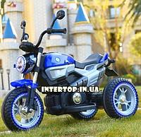 Детский электро-мотоцикл BMW на аккумуляторе Bambi с кожаным сиденьем на резиновых колесах. M 3687AL-4 синий