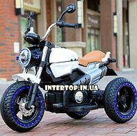 Детский электро-мотоцикл BMW на аккумуляторе Bambi с кожаным сиденьем на резиновых колесах. M 3687ALAL-1 белый