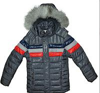 Куртка зимняя для мальчика на двойном холлофайбере, опушка на капюшоне- натуральный мех