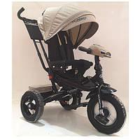 Дитячий триколісний велосипед-коляска з поворотним сидінням TurboTrike M 4060HA-7L льон бежевий