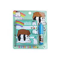 Блокнот детский с ручкой, три медведя зеленый