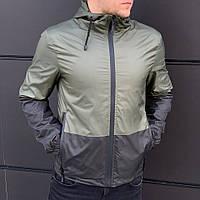 Ветровка куртка мужская весенняя осенняя стильная качественная двухцветная зелено-черная Intruder Anti-wind, фото 1