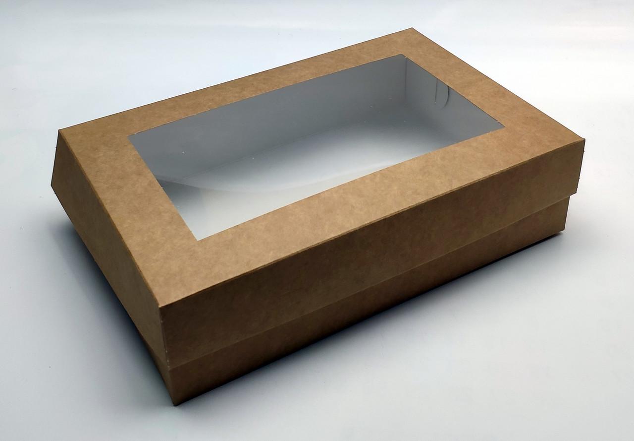 """Коробка для эклеров """"Крафтовая с окном 23*15*6 см"""" (5 шт)"""