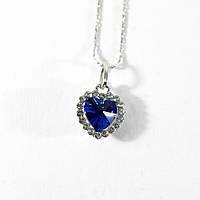 🔝 Сердце океана, бижутерия, цепочка, кулон. Красивое, украшение на шею. Голубой, кулон для влюбленных | 🎁%🚚, фото 1