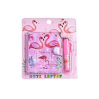 Блокнот детский с ручкой, фламинго розовый