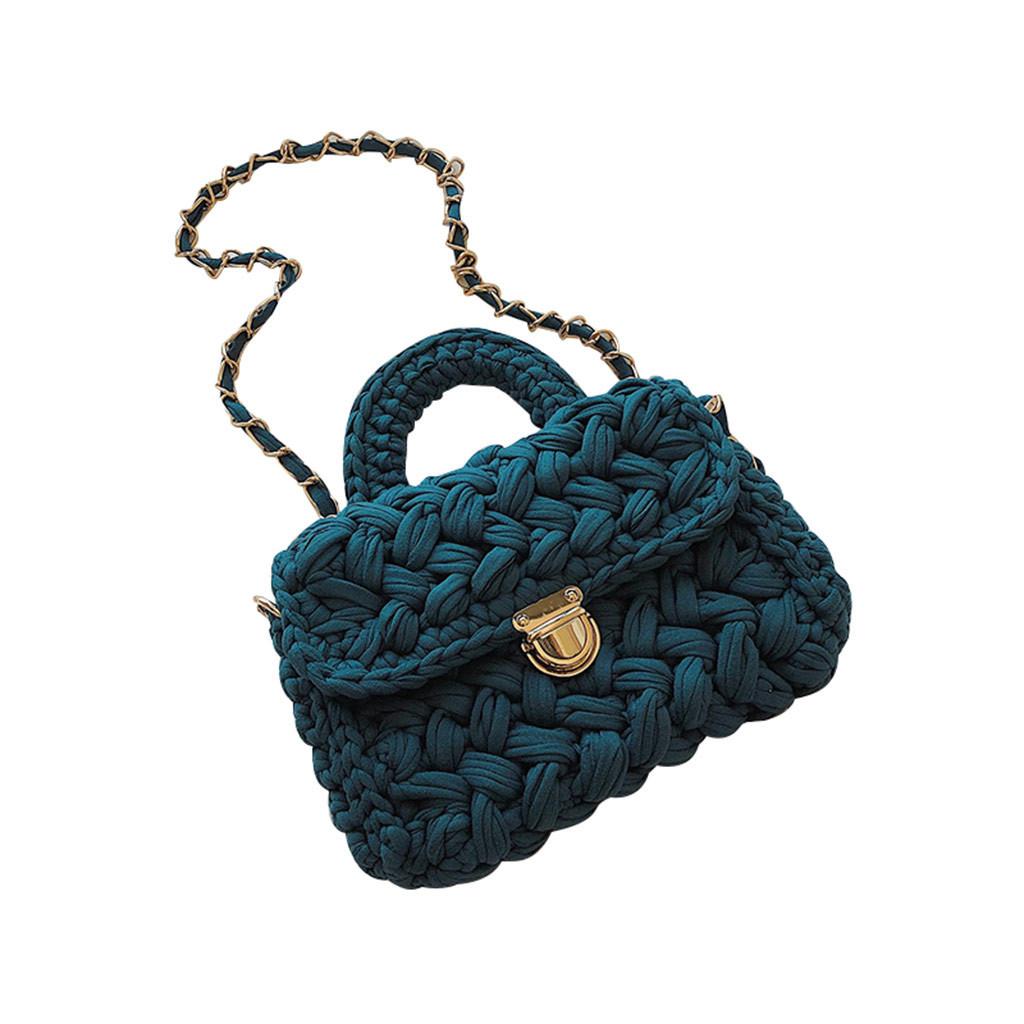 Модна жіноча сумка через плече плетені з тканини