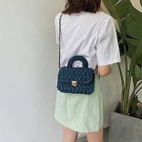 Модная женская сумка через плечо плетеная из ткани, фото 4